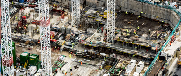 overview of a busy construction site