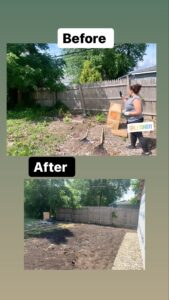 Before and after picture of volunteer work